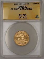 1895 Great Britain One Sovereign Gold Coin ANACS AU-58 Details Scratched