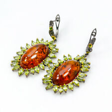 Exclusive GEM17ct+  Natural Amber 925 Sterling Silver Earrings Size/E24822