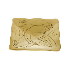 Decorative Square Plate, Handmade of Solid Brass, Dove Bird Design, 3.7''x3.7''