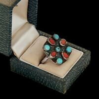 Antique Vintage Sterling Coin Silver Native Zuni Turquoise Red Coral Ring S 6.75