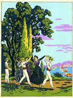 1930s French Pochoir Print Art Deco Sicilian Peasants Dancing Italian Seascape