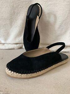 Something Navy Felix Espadrille Slingback Sandal Size 6 Black Suede