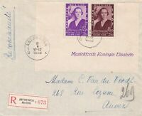Belgium 1938 Registered Antwerp Elisabeth Stamps Cover to Anvers Ref 45486