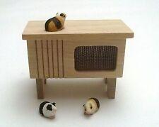 clapier,cage avec cochons d'inde, miniature pour maison de poupée,jardin G-T5