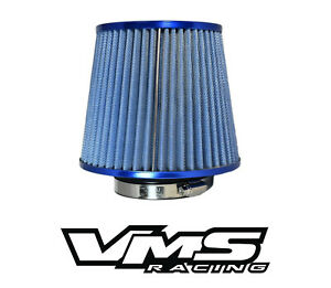 VMS RACING BLUE 3 INCH INTAKE HIGH FLOW AIR FILTER FOR MITSUBISHI ECLIPSE MIRAGE