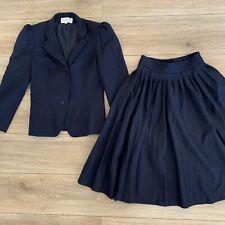 Vintage Christian Dior Vintage 1960s Pleated Navy Blue Jacket Skirt Suit Xs/24