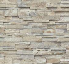 3D Light Slate Stone Split Face Brique Effet Papier Peint Vinyle Lavable Tile