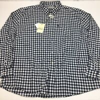 Barbour Men's Button Shirt Endsleigh Gingham Tailored-Fit Plaid Navy Blue XXL