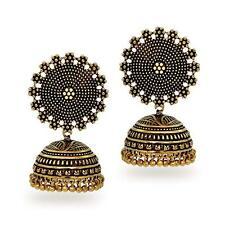 Bollywood Indian Traditional Ethnic Jhumka Jumki Black Metal Gold Plt. Earring