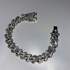 Mens Silver Cuban Curb Link Bracelet Fully Iced Out Trapstar CZ Hiphop Bling New