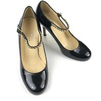 Kate Spade Black Patent Mary Jane Heels Pumps Gold Chain • Italy • Size 6