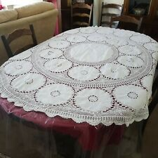 Vintage Round Oval Table Cloth Embroidered Floral Crotchet