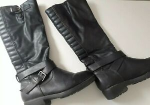 Women's NEW LOOK black buckle Knee length boots shoes UK 4 37