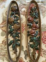 Vintage Syroco ? Floral Oval Wall Hanging Art Plaques Roses & chrysanthemums