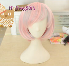 Lolita Bob Short Straight pink and blue Cosplay Party Hair Fashion Wig CC19J