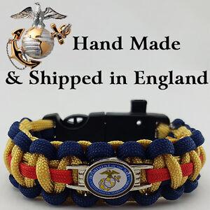 US Marines Badged Survival Bracelet Tactical Edge Wristband Gift