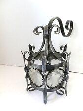Lanterna lampada da parete con 6 vetri tonda in ferro battuto diam.26 cm