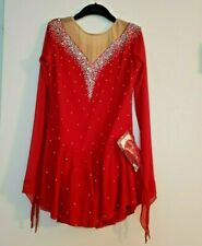 Custom made figure skating dress, red competition ice skating dress