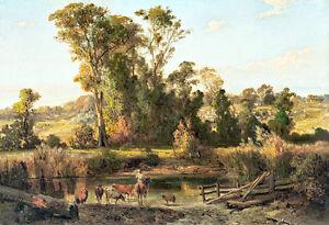 View near Heidelberg by Louis Buvelot 75cm x 51.3cm Canvas Print