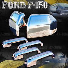 For 2017 Ford F-150 Chrome 4D Door Handle Cover + Chrome Top Half Mirror Cover