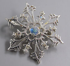Vintage Jewelry AB Crystal Snowflake BROOCH PIN Rhinestone Lot T