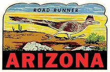 ARIZONA   Road Runner Route 66  Vintage Looking   Sticker   Decal  Luggage Label