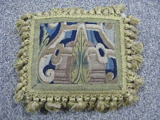 Vintage pillow 17thC verdure Flemish tapestry hand woven wool and silk 11x9in