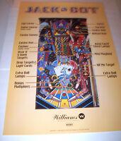 Williams JACKBOT 1995 Original NOS Pinball Machine 32 X 24 Promo POSTER Jack Bot