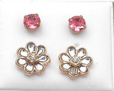 2 Pr Stud Earrings (1 x 5mm Clear Glass Flower 1 x 10mm Faceted Pink Glass)
