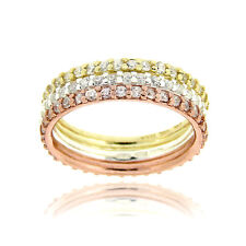 925 Silver Tri-Color Stackable CZ Eternity Band Ring Set Size 9