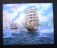 G AMRY painting Tall Sailing Ship galleon sail boat ART PRINT 1960s sea seascape