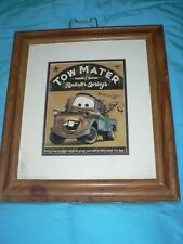Vintage Collectible Disney Pixar Cars Movie Need a Lift Tow Mater Framed Pic