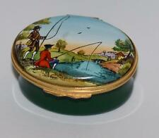 Halcyon Days Covered Enamel Oval Trinket Box - English Fishermen Fishing