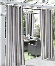"""Outdoor Decor Coastal Stripe Woven Outdoor Curtain with Grommets, Taupe, 108"""""""
