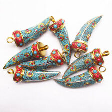 1pcsBlue Red Indonesia Rare Earth Bronze Tibetan Silver Horn Pendant Bead z19201