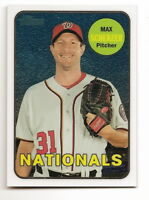 2018 TOPPS HERITAGE MAX SCHERZER CHROME BASE CARD (THC-67) #418/999 (NATIONALS)