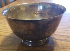 "Silverplate Wm Rogers Paul Revere Reproduction 5"" Across Serving Bowl Pedestal"