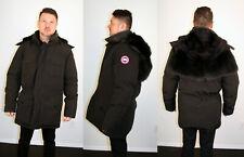 Black Canada Goose Coat Black Fox Fur Trim Large L One of a Kind Efurs4less