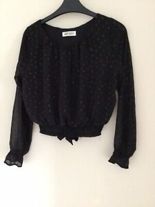 H&M Girls Cropped Blouse Age 12-13 Years Puff Long Sleeve Tieback Polyester