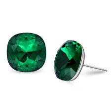Swarovski Elements - 12 mm (7 cts) Emerald Crystal  - Earrings - Studs