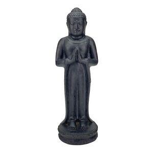 Buddha Figur Stein Garten stehend Lavasand Skulptur 50cm Wetterfest Schwarz