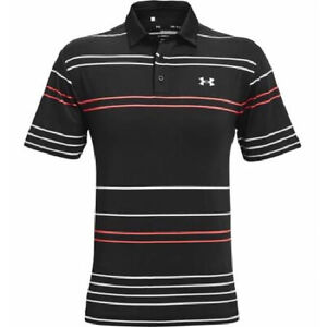 NEW UNDER ARMOUR MEN'S THE PLAYOFF POLO SHIRT BLACK STRIPE XL