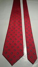 Hardy Amies Men's Vintage Tie in Red with a Navy and White Geometric Pattern