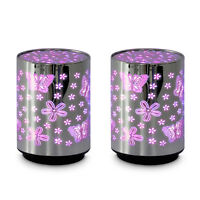 Pair of Chrome Floral Butterfly Colour Changing LED Night Lights Bedside Lamps