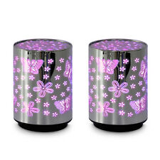 Pair of - Battery Operated Silver Chrome Novelty Colour Changing LED Flower &