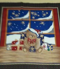 100% Cotton Fabric Panel Green/Red Christmas Teddy Design 18 x 17 1/2  Inches