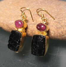 Sterling silver & 18k gold plating rough & cab tourmaline earrings. Gift bag.