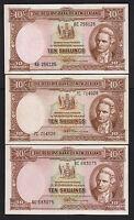 NEW ZEALAND P-158d. (1956-67) Ten Shillings - Fleming x 3 Notes. Prefs 6E,7C,8C