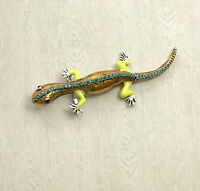 Unique Lizard Brooch pin in enamel on metal