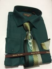Men's HENRI PICARD Dress Shirt Hunter GreenConvertible Cuffs Tie Hanky Set FC150